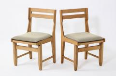 Guillerme et Chambron Pair of Solid Oak Guillerme Chambron Chairs France 1970s - 1715442