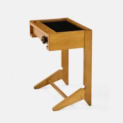 Guillerme et Chambron Sculptural Oak and Black Glass Side Table - 1995562