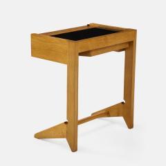 Guillerme et Chambron Sculptural Oak and Black Glass Side Table - 1995564