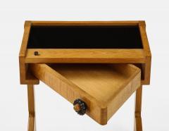 Guillerme et Chambron Sculptural Oak and Black Glass Side Table - 1995571