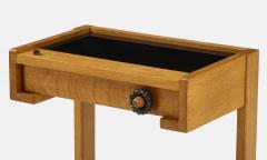 Guillerme et Chambron Sculptural Oak and Black Glass Side Table - 1995576
