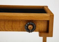 Guillerme et Chambron Sculptural Oak and Black Glass Side Table - 1995579