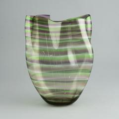 Gunnar Cyren Gunnar Cyr n for Orrefors Cyrano Vase in Green and Pink 1985 - 502768