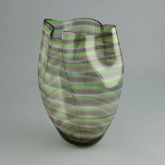 Gunnar Cyren Gunnar Cyr n for Orrefors Cyrano Vase in Green and Pink 1985 - 502769