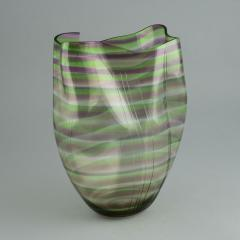 Gunnar Cyren Gunnar Cyr n for Orrefors Cyrano Vase in Green and Pink 1985 - 502770