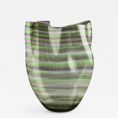 Gunnar Cyren Gunnar Cyr n for Orrefors Cyrano Vase in Green and Pink 1985 - 503853