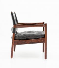 Gunnar Myrstrand Scandinavian Leather and Rosewood Lounge Chairs by Gunnar Myrstrand Sweden - 1247491