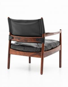 Gunnar Myrstrand Scandinavian Leather and Rosewood Lounge Chairs by Gunnar Myrstrand Sweden - 1247492