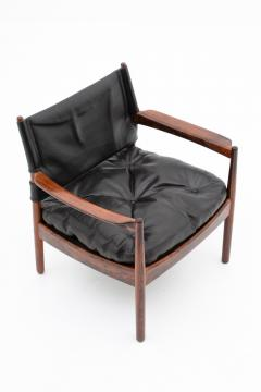Gunnar Myrstrand Scandinavian Leather and Rosewood Lounge Chairs by Gunnar Myrstrand Sweden - 1247493