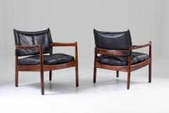 Gunnar Myrstrand Scandinavian Leather and Rosewood Lounge Chairs by Gunnar Myrstrand Sweden - 1247494