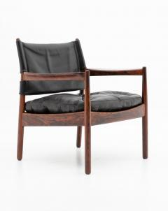 Gunnar Myrstrand Scandinavian Leather and Rosewood Lounge Chairs by Gunnar Myrstrand Sweden - 1247495