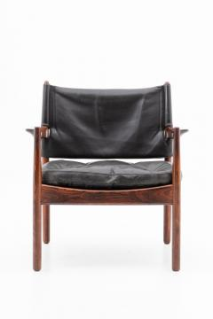 Gunnar Myrstrand Scandinavian Leather and Rosewood Lounge Chairs by Gunnar Myrstrand Sweden - 1247496
