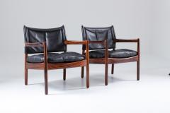 Gunnar Myrstrand Scandinavian Leather and Rosewood Lounge Chairs by Gunnar Myrstrand Sweden - 1247497
