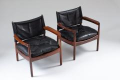 Gunnar Myrstrand Scandinavian Leather and Rosewood Lounge Chairs by Gunnar Myrstrand Sweden - 1247499