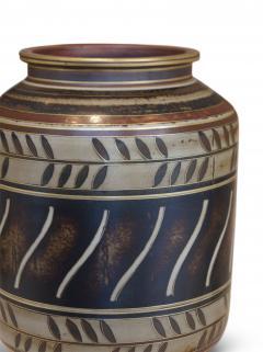 Gunnar Nylund Albarello Form Vase in Bronze Tones with Sgraffiito Details by Gunnar Nylund - 475794