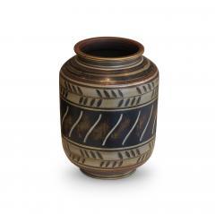 Gunnar Nylund Albarello Form Vase in Bronze Tones with Sgraffiito Details by Gunnar Nylund - 475795