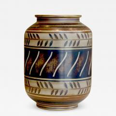 Gunnar Nylund Albarello Form Vase in Bronze Tones with Sgraffiito Details by Gunnar Nylund - 475873