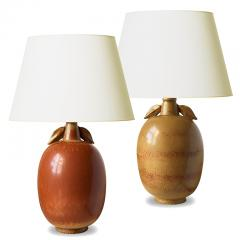 Gunnar Nylund Exotic Fruit Table Lamps in Burnt Sienna and Gold by Gunnar Nylund - 1206574