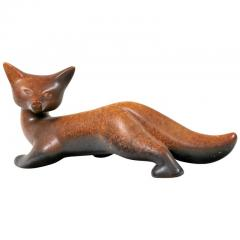 Gunnar Nylund Gunnar Nylund Signed Brown Stoneware Fox for Rorstrand - 1095221