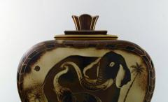 Gunnar Nylund Large unique hand crafted Art Deco Flamb lidded jar with elephant motifs - 1306944