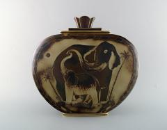 Gunnar Nylund Large unique hand crafted Art Deco Flamb lidded jar with elephant motifs - 1306945
