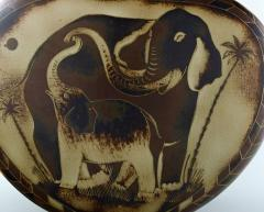 Gunnar Nylund Large unique hand crafted Art Deco Flamb lidded jar with elephant motifs - 1306948