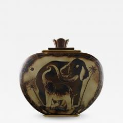 Gunnar Nylund Large unique hand crafted Art Deco Flamb lidded jar with elephant motifs - 1308891