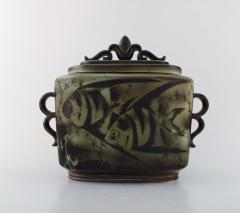 Gunnar Nylund Large unique hand crafted Art Deco Flamb lidded jar with tropical fish - 1306786