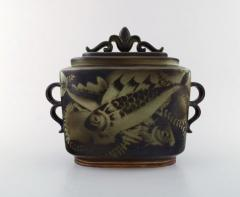 Gunnar Nylund Large unique hand crafted Art Deco Flamb lidded jar with tropical fish - 1306787