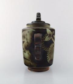 Gunnar Nylund Large unique hand crafted Art Deco Flamb lidded jar with tropical fish - 1306789