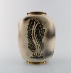 Gunnar Nylund Unique hand crafted Art Deco Flamb vase in ceramic with nude woman carrying jar - 1306777