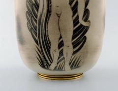 Gunnar Nylund Unique hand crafted Art Deco Flamb vase in ceramic with nude woman carrying jar - 1306778