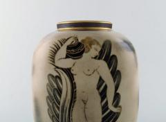 Gunnar Nylund Unique hand crafted Art Deco Flamb vase in ceramic with nude woman carrying jar - 1306779