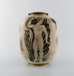 Gunnar Nylund Unique hand crafted Art Deco Flamb vase in ceramic with nude woman carrying jar - 1306780