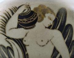 Gunnar Nylund Unique hand crafted Art Deco Flamb vase in ceramic with nude woman carrying jar - 1306782