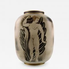 Gunnar Nylund Unique hand crafted Art Deco Flamb vase in ceramic with nude woman carrying jar - 1308889