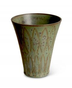 Gunnar Nylund Vase with Stylized Leaf Pattern in Speckled Green by G Nylund - 524347