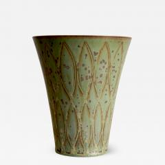 Gunnar Nylund Vase with Stylized Leaf Pattern in Speckled Green by G Nylund - 524667