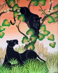 Gustavo Novoa Black Panther in a tree with a peach sky - 1089286