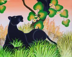 Gustavo Novoa Black Panther in a tree with a peach sky - 1089288