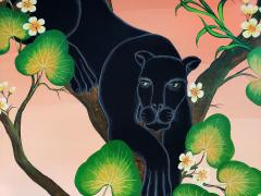 Gustavo Novoa Black Panther in a tree with a peach sky - 1089290