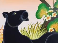 Gustavo Novoa Black Panther in a tree with a peach sky - 1089292