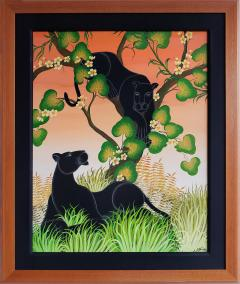Gustavo Novoa Black Panther in a tree with a peach sky - 1089295