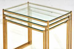 Guy LeFevre Brass and Glass Nesting Tables by Guy Lefevre for Maison Jansen circa 1970 - 1907559