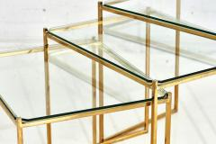 Guy LeFevre Brass and Glass Nesting Tables by Guy Lefevre for Maison Jansen circa 1970 - 1907560