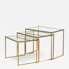 Guy LeFevre Brass and Glass Nesting Tables by Guy Lefevre for Maison Jansen circa 1970 - 1908337