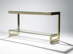 Guy LeFevre Guy Lefevre pair of large brass console tables for Maison Jansen 1970 s - 983863