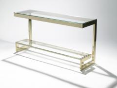 Guy LeFevre Guy Lefevre pair of large brass console tables for Maison Jansen 1970 s - 983864