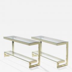 Guy LeFevre Guy Lefevre pair of large brass console tables for Maison Jansen 1970 s - 986560