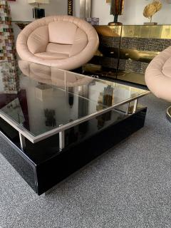 Guy LeFevre Lacquered Coffee Table Nickeled Brass by Guy Lefevre France 1970s - 1260663